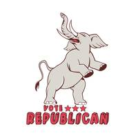 Vote Republican Elephant Mascot Cartoon