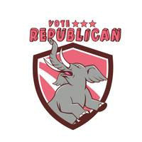 Vote Republican Elephant Mascot Shield Cartoon