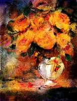 Classic Roses Still Life Golden glow