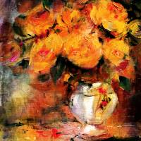 Classic Roses Still Life Golden glow Art Prints & Posters by Ginette Callaway