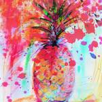 """Pink Splash Pineapple Modern Decorative Art"" by GinetteCallaway"