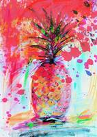 Pink Splash Pineapple Modern Decorative Art