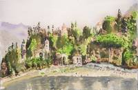lake como, bellagio, watercolor, 10x14