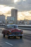 Old Chevrolet taxi on the Malecon in Havana, Cuba