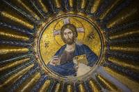 Byzantine Jesus mosaic at Chora church Istanbul