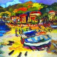 Italy Seaside Village Vacation Art Prints & Posters by Ginette Callaway