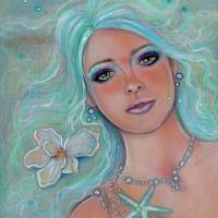 Touch of spring mermaid Art Prints & Posters by Renee Lavoie