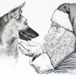 """German Shepherd and Santa Claus"" by crazyabouthercats"