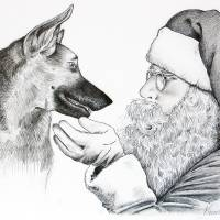 German Shepherd and Santa Claus Art Prints & Posters by Roseann Riggi-Knudson