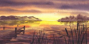 Peaceful Sunset At The Lake Landscape Artwork