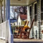 """Wooden Rocking Chairs on Porch"" by susansartgallery"