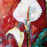 """White Calla Lilies Modern Impressionist Oil"" by GinetteCallaway"