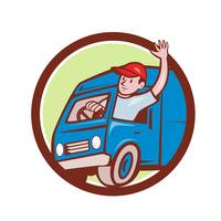 Delivery Man Waving Driving Van Circle Cartoon