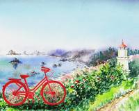 Red Bicycle At The Lighthouse
