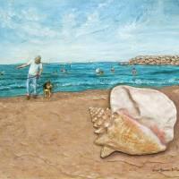 John & His Pet Dog at the Beach Art Prints & Posters by Linda Hammar - Del Favero