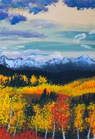 Fall colors and snow covered Coastal Range