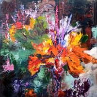 Impressionist Canna Flower Oil Painting