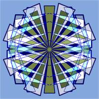 Abstract Triangle Starburst in Blue and Green