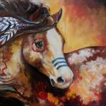 """TOBIANO INDIAN WAR HORSE"" by MBaldwinFineArt2006"
