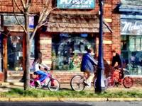 Metuchen NJ - Bicyclists on Main Street