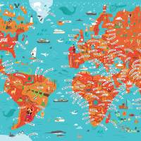 World Map by Nate Padavick Art Prints & Posters by They Draw & Cook & Travel