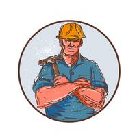 Builder Arms Crossed Hammer Circle Drawing