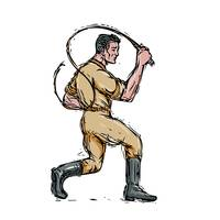 Lion Tamer Bullwhip Isolated Drawing