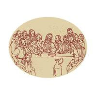 Last Supper Jesus Apostles Drawing