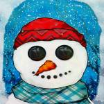 """Reflections Christmas Snowman Folk Art"" by ReneeLozenGraphics"