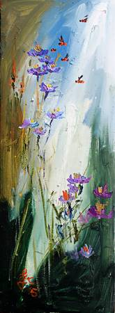 Wildflowers and Bees Oil Painting Ginette