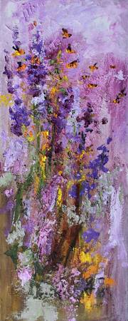 Lavender and Bees Impressionist Oil Painting