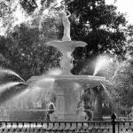 """Forsyth Park Fountain in Black and White"" by Groecar"