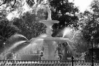 Forsyth Park Fountain in Black and White
