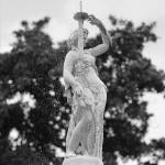 """Forsyth Fountain Lady - Black and White"" by Groecar"