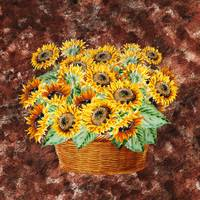 Basket With Sunflowers