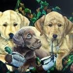 Labrador Puppies- Caught in the Act
