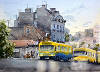 Two yellow buses Belgrade - original watercolor