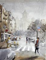 Kosovska street Belgrade - original watercolor