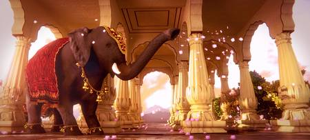 Indian Elephant in a Hindu Temple