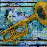 """mixed media musical art - trumpet Trust"" by schulmanart"