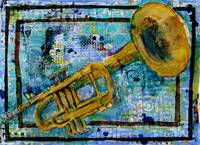 mixed media musical art - trumpet Trust