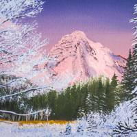 """Mt Rainier viewed from Longmire in winter"" by Dennis Golden"
