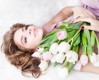 Contentment With An Armful Of Tulips