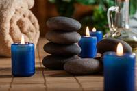 Blue Candles and Meditation Rocks