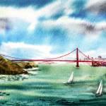 """San Francisco Silhouette And Golden Gate Bridge"" by IrinaSztukowski"