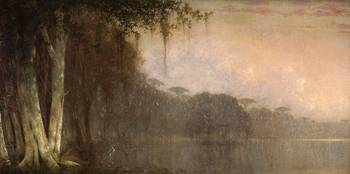 Bayou Scene with Egret by Joseph Meeker 1827-1887
