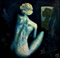 blue glazed back female nude