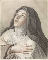 Saint Theresa in prayer, Gilles Antoine Demarteau,