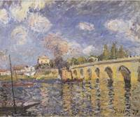 River steamboat and bridge - Alfred Sisley 1871
