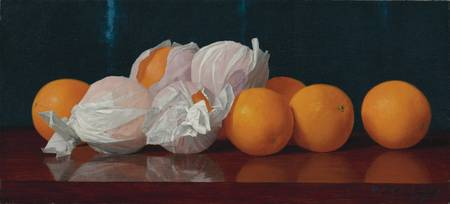 WRAPPED ORANGES ON A TABLETOP,  William Joseph McC